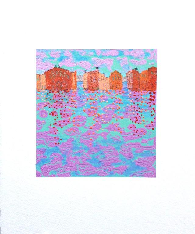 Venice 2, acrylic, monotype, graphite on paper 15x11