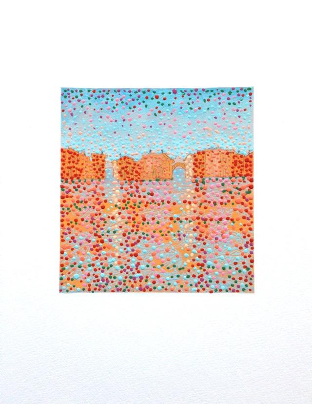 Venice 3, acrylic, monotype, graphite on paper 15x11